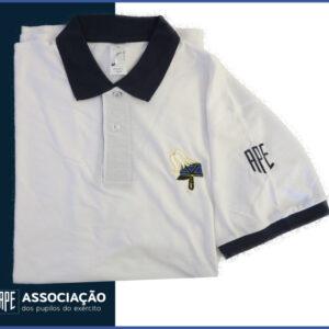 I0867 Polo Branco do Pilão com símbolo da barretina no peito, em vários tamanhos do S ao XXL