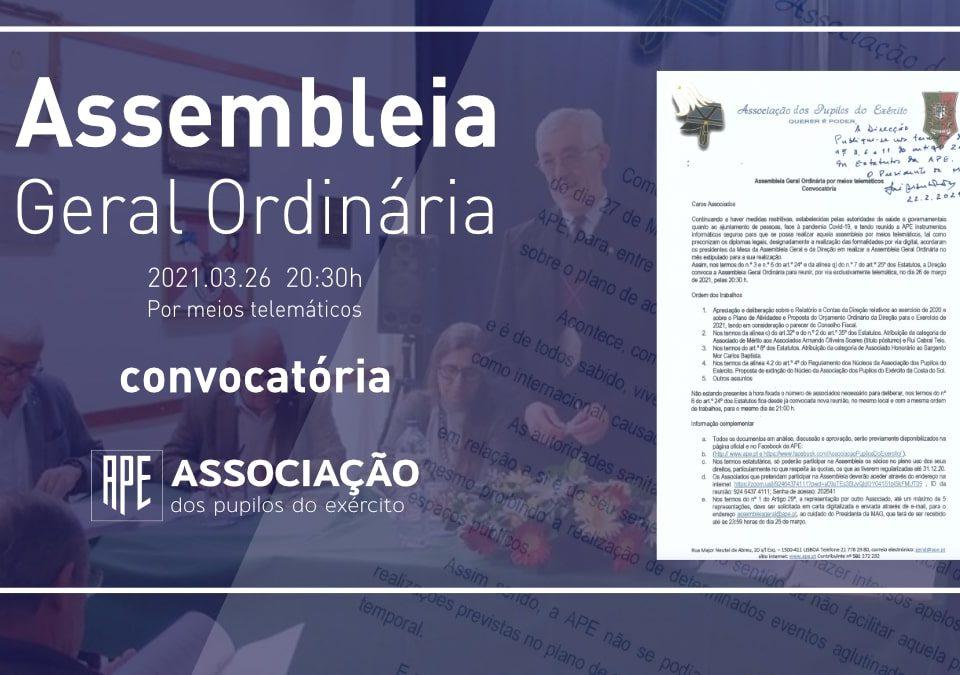 APE Convocatória para Assembleia Geral Ordinária 2021